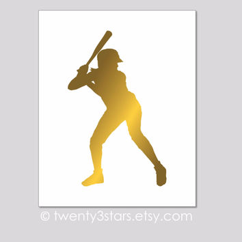 Softball Player in Metallic Foil - Choose Any Colors - twenty3stars