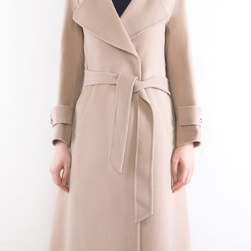 Two-Sided Pure Cashmere & Wool Military Style Hand-Stitched Long Coat