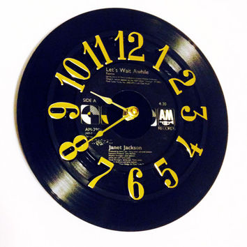 Vinyl Record Clock, Record Clock, Wall Clock, Janet Jackson Record, Recycled Record, Upcycle, Battery & Wall Hanger included, Item #45