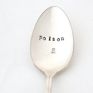 Poison spoon with skull. Handstamped coffee spoon for Halloween trick or treat fun. Ghastly decor by Milk and Honey, MTO