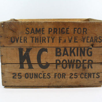 Vintage Wood Crate / Vintage KC Baking Powder Crate / Industrial XL