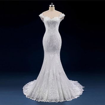 Luxury Full Beads Pearl Wedding Dress Mermaid Lace up Off Shoulder Bridal Gowns