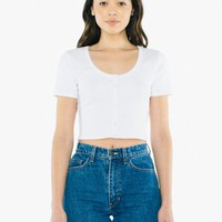 Ribbed Button Front Short Sleeve Crop Top | American Apparel