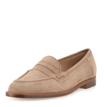 Urbane Suede Flat Penny Loafer, Taupe