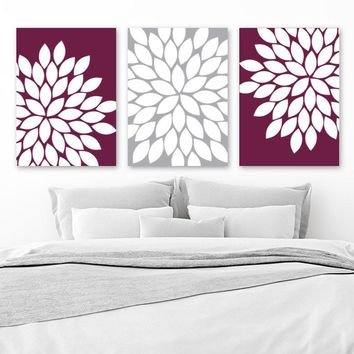 Flower Wall Art, Maroon Gray, Flower Bedroom Art, Maroon Kitchen Decor, Canvas or Prints, Bathroom Decor, Flower Petals, Set of 3 Wall Decor