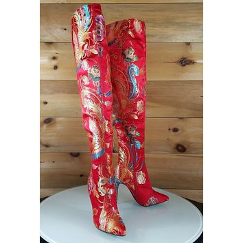 CR Red Satin Oriental Dragon Embroidery OTK Thigh Boot High Heel