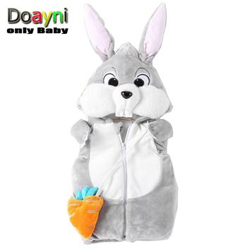 Doayni Baby 2017 Winter Jackets For Baby Girl Novelty Rabbit Hooded Vest Thick Warm Baby Girl Cotton Clothing Infant Unisex
