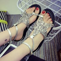 Silver Bling Bling Starfish Summer Beach Slippers Sandals