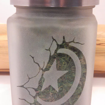 Captain America Shield Etched Glass Stash Jar - Gifts for Him - 420 Gift - Recreational Marijuana Stash