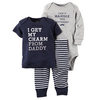 "Carter's Boys 3 Piece Navy ""I Get My Charm From Daddy"" Top, Striped Pant and ""Can U Handle This Cuteness"" Bodysuit Set"