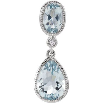 14K White Gold Aquamarine Oval and Pear .006 CTW Diamond Pendant