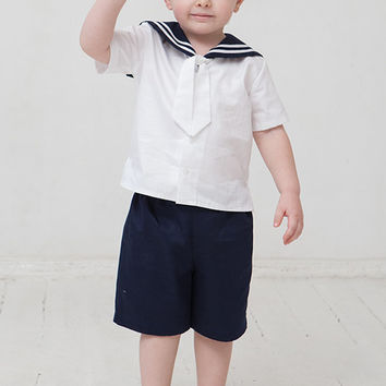 Baby boy sailor suit baptism christening beach wedding outfit kids natural linen clothes ring bearer first birthday navy blue mariner seaman