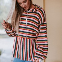 Storytime Striped Ruffled Hem Hoodie - Multi