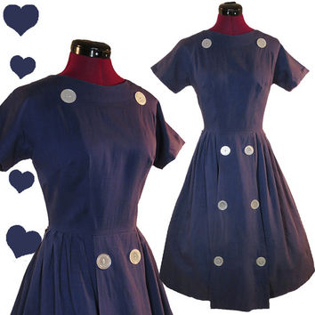 Vintage 50s Dress Blue Buttons Full Skirt S M Rockabilly Day Party Swing Dance Pinup Short Sleeves Party