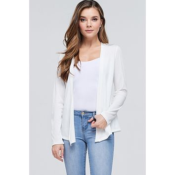 Open Front Long Sleeve Cardigan - Off White