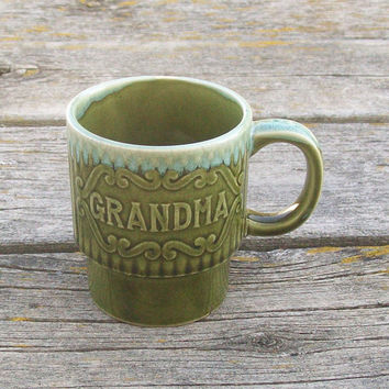 Vintage Grandma Mug Coffee Tea Cup 1970s Japan Green