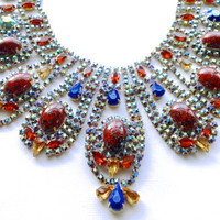 Bijoux MG Rhinestone Statement Necklace Bib Fashion Jewelry Mad Men Bridal Jewelry