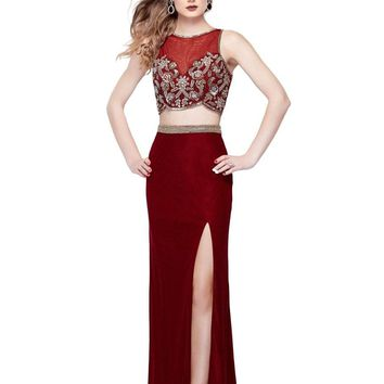 Primavera Couture - 3063 Two-Piece Beaded Bateau Evening Gown