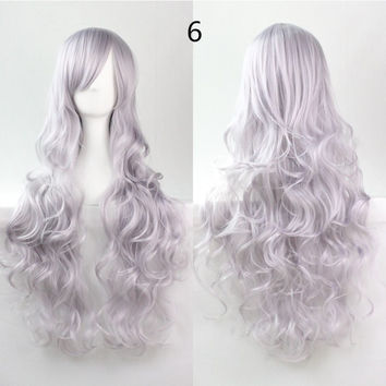 COS Wig Hair Extension woman wigs Hatsune Miku Cosplay Wig long hair wig wigs synthetic hair cap multicolor hair curly wig hair S2312-6