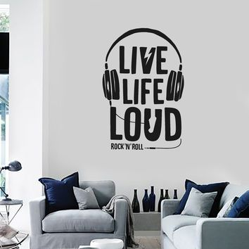 Vinyl Wall Decal Headphones Music Quote Musical Art Rock n Roll Stickers Mural (ig5463)