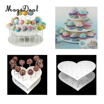MagiDeal Acrylic Heart/Round 15 Holes/42 Holes Lollipop Holder Cake Pop Display Stand Wedding Party Decor Candy Stand Cake Tools