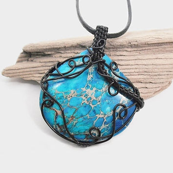 OOAK Wire wrapped blue Sea Sediment Jasper necklace, blue Sediment Jasper pendant, black leather necklace, unique necklace for women