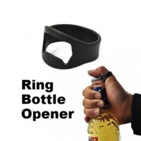 Vktech Wholesale Ring Bottle Opener Black Stainless Steel Beer Bar Tool