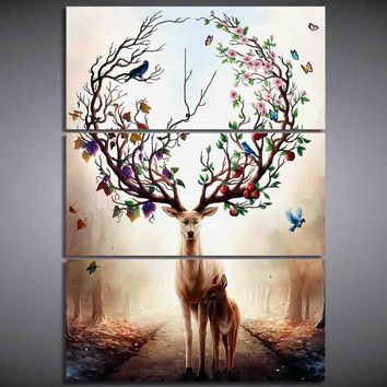 Drop Shipping 3 Piece Canvas Art Dream forest elk Poster HD Printed Wall Art Home Decor Canvas Painting Picture Prints