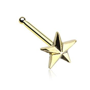 Golden Color Nautical Star Icon Nose Stud Ring - 20 G - Sold as a Pair