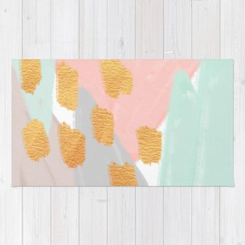 Soft Angles 2 - coral and mint abstract Rug by Allyson Johnson | Society6