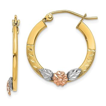 Flower Diamond-cut Round Hoops in 14k Two-tone Gold and Rhodium