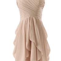 Dressystar Ruched Chiffon Bridesmaid Dress Short Sweetheart Party Dance Gown