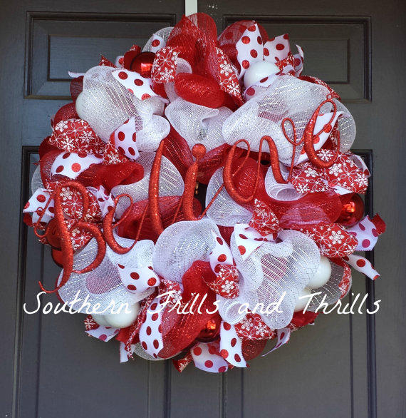 Christmas wreath christmas decor from southernthrills on for How to make christmas door wreaths
