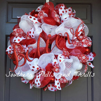 Christmas Wreath, Christmas Decor, Holiday Wreath, Holiday Decor, Christmas Door Hanger, Deco Mesh Wreath, Wreath, Ornament Wreath