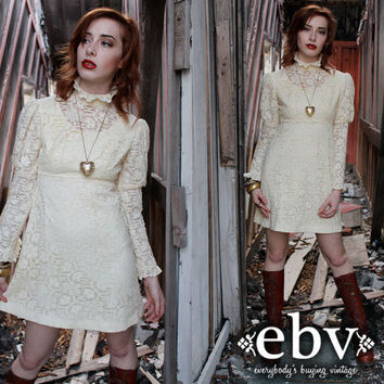 Vintage 70's Cream Lace Victorian Babydoll Mini Wedding Dress XS S