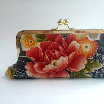 20% COUPON SALE, Wallet, clutch, cosmetic bag, watermelon pink, coral, black, salmon, Japanese fabric