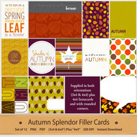 Autumn Filler Cards Journaling Pocket Life Scrapbooking Printable Planner Dividers 3x4 6x4 Insta 4x4 Instagram Digital Art Memory Keeping
