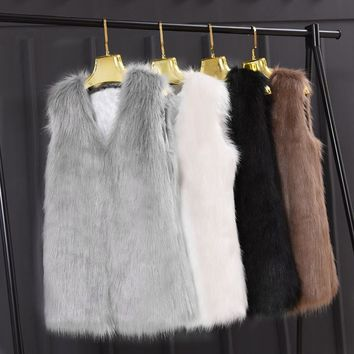 Faroonee Faux Hairy Fur Waistcoat Vest Women Slim Short Faux Fur Jackets Coat Winter Sleeveless Casual Hairy Outwear White Black