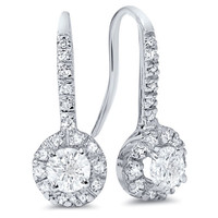 1ct Pave Halo Dangle Earrings 14K White Gold