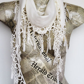 PASHMINA SCARF With Fringed Lace, For Gift