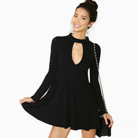 Black Keyhole Cutout Long Sleeve Skater Mini Dress