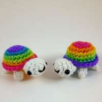 Baby Turtle - Bright Rainbow Striped - Purple or Pink Shell Top - Made to Order - Amigurumi Crochet Plushie
