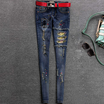 2016 new spring style skinny jeans woman street style patchwork ripped jeans ladies denim pants female casual pencil pants 8866