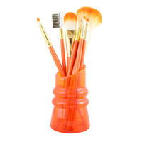 "Cosmopolitan 7Pc Makeup Brush And Holder Set 8.66""""X1.96""""X2.55"""" Orange: Orange"