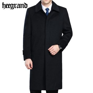 HEE GRAND Men's Wool Coats & Jackets Winter Cashmere Man Long Overcoat Turn-down Collar