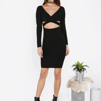 Crossover Long Sleeve Dress BLACK | MakeMeChic.COM