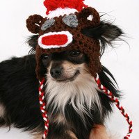 Dog Hat crochet Sock Monkey Valentine's Day ear flap hat for dogs