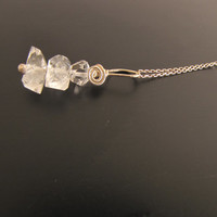 Herkimer Diamond Sterling Silver Wire Wrapped Pendant Necklace Quartz Crystal Double Point Handmade Jewelry # 100