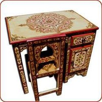 Moroccan Furniture - Painted Desk with Chair