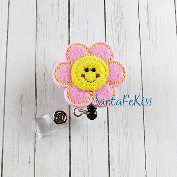 Pink and Yellow Smiling FlowerID Badge - Embroidered Felt Badge Reel - Retractable ID Badge Holder - Badge Reel Clip - Medical Badge